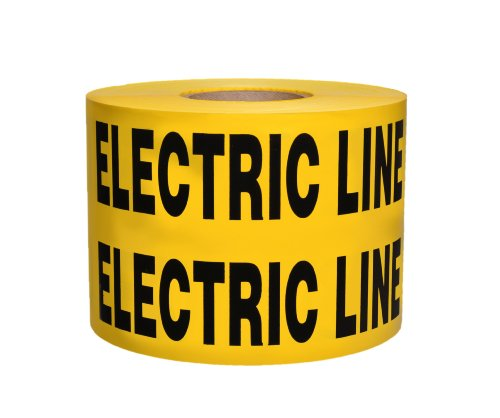 """Presco B6104Y6-658 1000' Length X 6"""" Width X 4 Mil Thick, Polyethylene, Yellow With Black Ink Non-Detectable Underground Warning Tape, Legend """"Caution Buried Electric Line Below"""" (Pack Of 4)"""