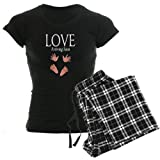 CafePress Love Arriving Soon Maternity Design Women's Dark P Women's D - S With Checker Pant