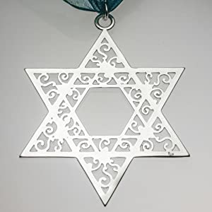 Star of David Filigree Ornament with Ribbon