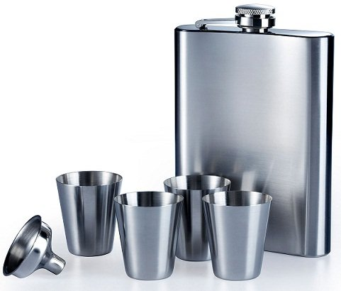 8oz Hip Flask With 4 Cups And Funnel Brand New Stainless Steel Hip Flask Set