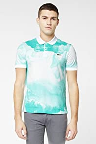 L!VE Short Sleeve Water Color Print Pique Polo