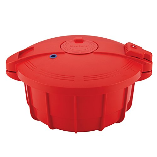 SilverStone Microwave Cookware 3.4-Quart Microwave Pressure Cooker, Chili Red