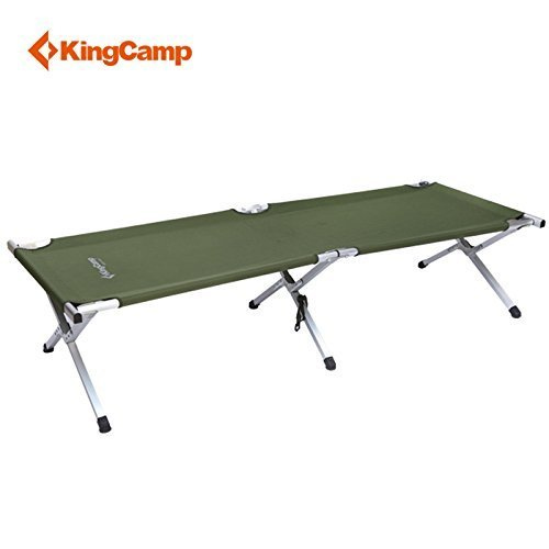 KingCamp Deluxe Aluminum, Folding Lightweight Camping Bed with Carry Bag, Army Green