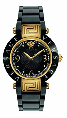 Versace Women's 92QCP9D008 S009 Reve Ceramic Bezel Gold Ion-Plating Black Rubber Watch