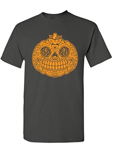 Manateez Men's Candy Pumpkin Jackolantern Tee Shirt XXL Charcoal