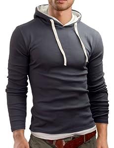 Grin&Bear SLIM FIT T-Shirt langarm Hemd, Grau, Größe L