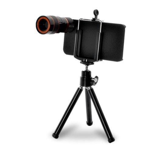 Iphone 4 4S 5 Camera Lens Kit Including 8X 12X Telephoto Lens / Mini Tripod / Universal Phone Holder / Hard Case For Iphone / Velvet Phone Bag / Cleaning Cloth / Fisheye / Wide Angle / Macro (Iphone 4 4S 8X 3-In-1 (Black))