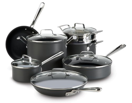 Emeril by All-Clad E871SC64 Hard Anodized Nonstick Scratch Resistant Cookware Set, 12-Piece, Black (Emeril Pots And Pans compare prices)