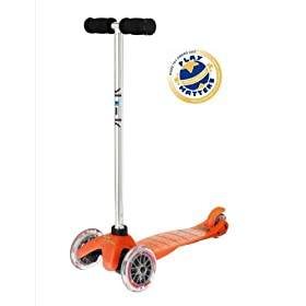 Mini Kick Scooter - ORANGE, for kids age 3-5, the quality 3-wheel scooter