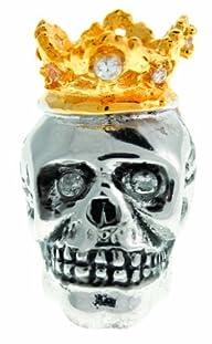 Tateossian Pin Rhodium Gold Plated Cubic Zirconia Crystal King Skull Tie Pin