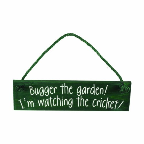 The Cornish Pixie Company Wooden Bugger The Garden Watching Cricket Hanging Sign