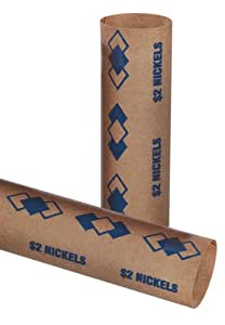 PM Company SecurIT $2.00 Nickel Pre-Crimped Tubular Coin Wrappers, 3.5 Inches Length, Brown/Blue, 1000/Carton (65070)