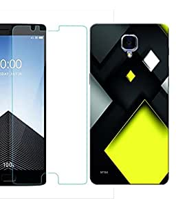 Indiashopers Combo of Abstract Art HD UV Printed Mobile Back Cover and Tempered Glass For OnePlus 3