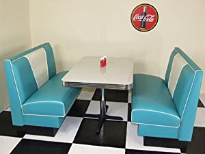 american diner furniture 50s white table and 2 peacock blue booths