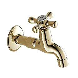 Generic New Gold Color Oil Rubbed Bronze Long Bathroom Faucets Basin Garden Faucet Wachine Machine Water Cold Tap Yellow
