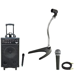 Pyle Speaker, Mic, Cable and Stand Package - PWMA860I 500W VHF Wireless Portable PA Speaker System /Echo W/Ipod Dock - PDMIC58 Professional Moving Coil Dynamic Handheld Microphone - PMKS8 U-Base Gooseneck Desktop Microphone Stand - PPMCL50 50ft. Symmetric Microphone Cable XLR Female to XLR Male