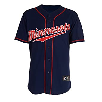 Buy MLB Minnesota Twins Navy Road Short Sleeve 6 Button Synthetic Replica Baseball Jersey Spring 2012... by Majestic