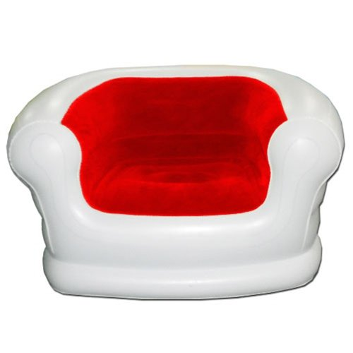 Smart Air Beds Rave Inflatable Chair (White w/Flocked Red Center)