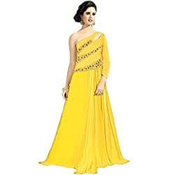 Latest Wize Elegance Boldness Georgette Embroidered IndoWestern Gown Dress Material