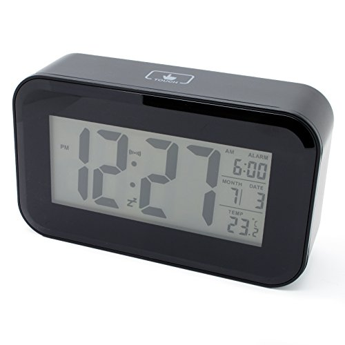 Jcc Touch Smart Light-Activated Sensor Bedside Digital Snooze Alarm Clock With Date And Temperature Display Batteries / Usb / Dc Powered (Black) front-841676