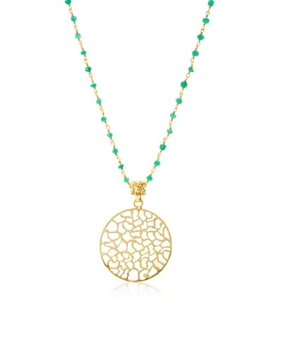 Liv Oliver Green Onyx Cut Out Disc Pendant  Necklace