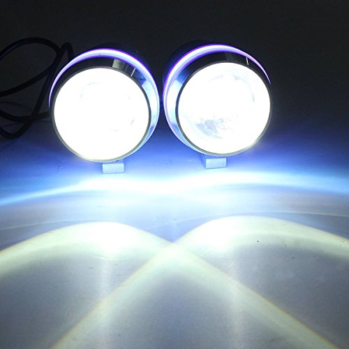 AUDEW 30W Moto U3 LED Phare Feu Brouillard Spot Light Angel Eye Lamp Bleu