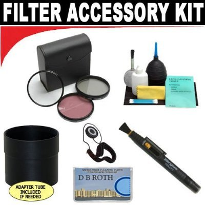 High Resolution 3-piece Filter Set (UV, Fluorescent, Polarizer) + 6-Piece Deluxe Cleaning Kit + Lens Adapter Tube (If Needed) + Lenspen + Lens Cap Keeper + DB ROTH Micro Fiber Cloth For The Sony DSLR-A380, A330, A230 Digital SLR Cameras Which Have Any Of