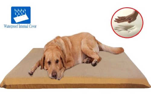 Beige-Color-XL-54X37X4-Orthopedic-Memory-Foam-Pet-Bed-Mattress-for-Large-dog-with-2-external-cover-Waterproof-Internal-cover