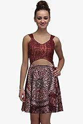 IRALZO Sleeveless Printed Skater Dress With Stylish Cut