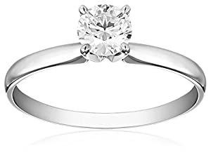 IGI Certified 18k White Gold Classic Round-Cut Diamond Engagement Ring (3/4 cttw, H-I Color, SI1-SI2 Clarity), Size 5