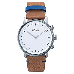 EMIE Nevo Balade Parisienne Urban Minimalist Analog Smart Watch with Stainless Steel Case, Genuine Leather Strap, Activity Tracker, Step Counter, Sleep Monitor & Mobile App (Android & iOS) (Tertre)