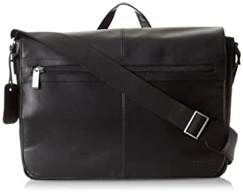 Kenneth Cole Reaction Luggage Top Grain Leather Messenger Bag, Black, One Size