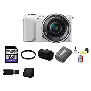 Sony NEX-3NL/W Camera with 16-50mm f/3.5-5.6 Lens (White) + 16GB SDHC Class 10 Memory Card + 40.5mm UV Filter + Deluxe Soft Large Camera and Video Case Bag + Lithium Ion Rechargeable NP-FW50 Battery + Table Top Tripod, Lens Cleaning Kit, LCD Protector + USB SDHC Reader + Memory Wallet