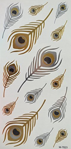 GGSELL Golden and silver and black feather Metallic Temporary tattoos by GGSELL