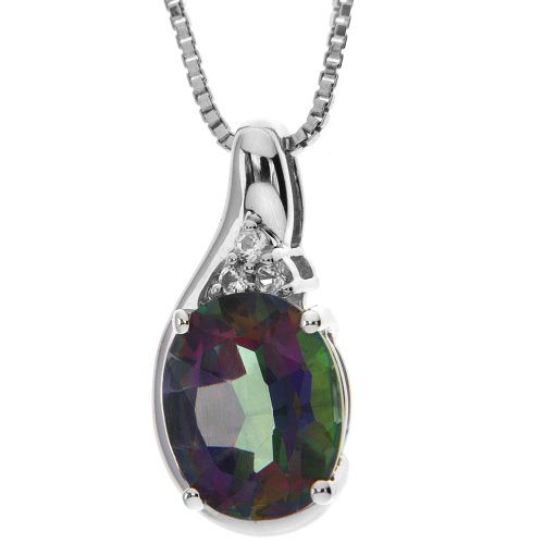 Sterling Silver Mystic Fire Topaz and White Topaz Pendant Necklace , 18