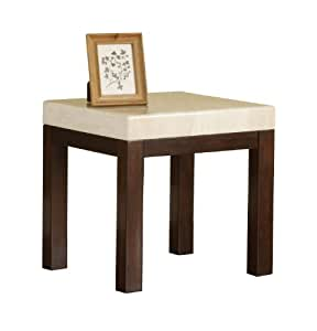 Acme 17416 Kyle Faux Marble Top Kyle End Table, White