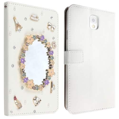 For Samsung Galaxy Note 3 Note III N9000 Mobile Phone Case Lady Wallet case with 3D bling Rhinestone fold flip leather cover housing new designer by wellpad (makeup mirror)