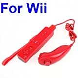 RED Nunchuck and Remote Controller For Nintendo Wii
