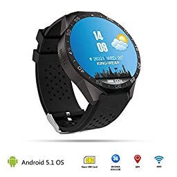 Witmoving KW88 Wifi Smart Watch with Camera GPS Bluetooth 3G Smartwatch Heart Rate Monitor for Andriod and iPhone Smartphone Watch (Black)