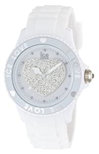 Ice Watch - LO.WE.U.S.10 - Ice Love - Montre Mixte - Quartz Analogique - Cadran Blanc - Bracelet Silicone Blanc - Moyen Modèle