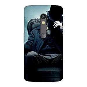 Ajay Enterprises Real Sitting Hat Man Back Case Cover for Moto X Play