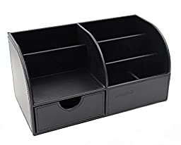 EasyPAG Desk Organizer 7 Compartment PU Leather Office Supplies Storage Box with Drawer , Black