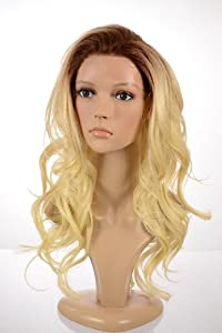 Long Bleach Blonde Wavy Human Hair Blend Lace Front Wig | With Dark Root Effect