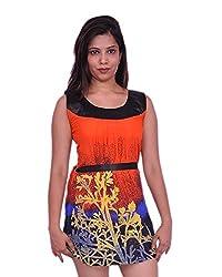 Jevaraz Women's Dress (Orange, L)