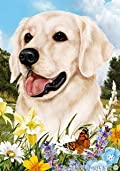Golden Retriever White Dog - Tamara Burnett Summer Flowers House Dog Breed Flag 28'' x 40''