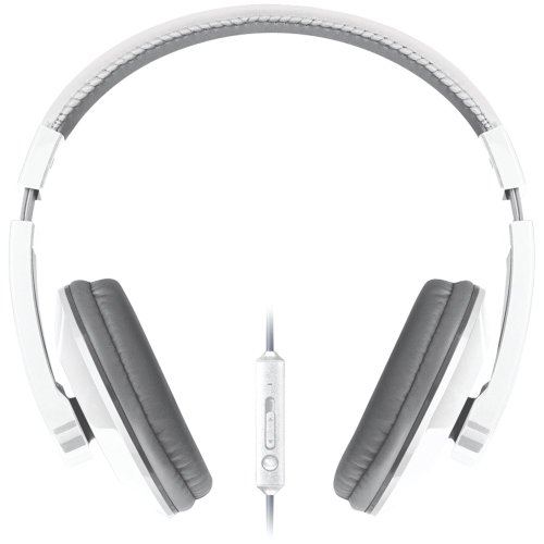 Merkury M-Hm706 Urban Beatz Large Headphones With Microphone (White & Gray)