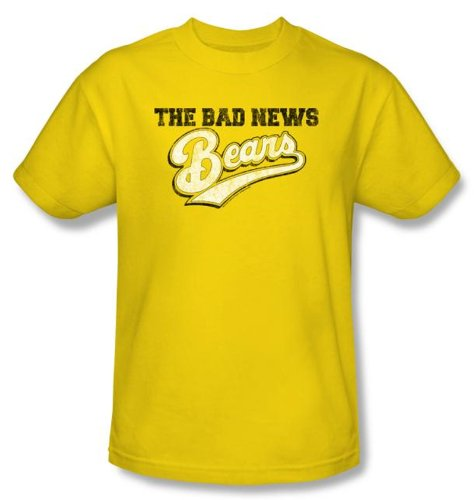 The Bad News Bears T-shirts - Movie Logo Baseball Yellow Adult Tee Shirt