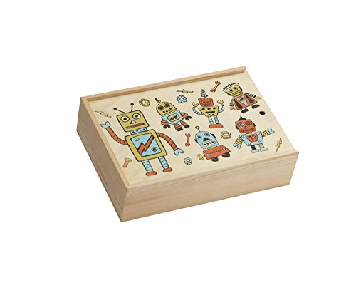 ORE Originals Wooden Desk Box, Retro Robot - 1