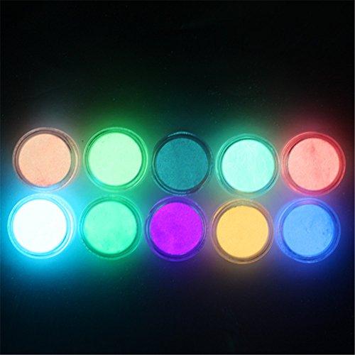 NICOLE DIARY Phosphorescent FLUORESCENT Powder Glow In Dark Nail Art Acrylic Use (#1) (Glow In The Dark Makeup Kit)