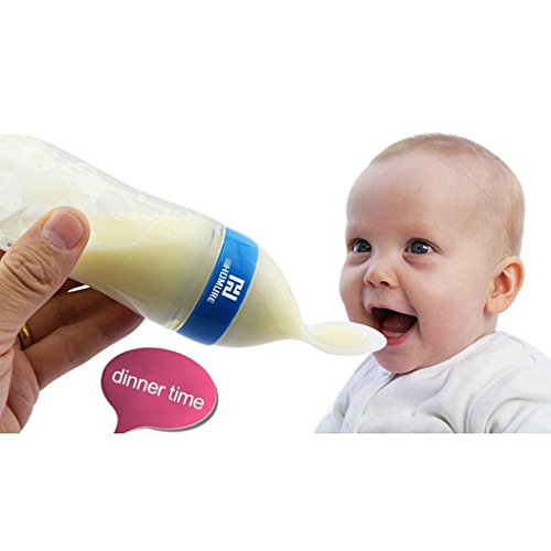 3 Ounce Feeding Bottle, Homure Silicone Squeeze Baby Food Dispensing Spoon for Infant Newborn Toddler Food Supplement, Blue